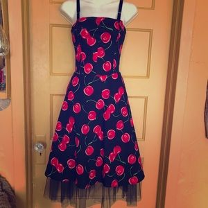 🍒 Rockabilly pin up retro style cherry midi dress
